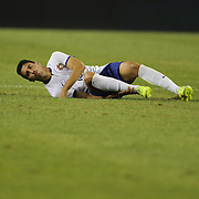 André Almeida, Portugal, hurt during the Portugal V Mexico International Friendly match in preparation for the 2014 FIFA World Cup in Brazil. Gillette Stadium, Boston (Foxborough), Massachusetts, USA. 6th June 2014. Photo Tim Clayton