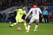 Sergio Busquets of Barcelona and Aouar Houssem of Lyon during the UEFA Champions League, round of 16, 1st leg football match between Olympique Lyonnais and FC Barcelona on February 19, 2019 at Groupama stadium in Decines-Charpieu near Lyon, France - Photo Romain Biard / Isports / ProSportsImages / DPPI