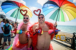 © Licensed to London News Pictures. 06/08/2017. Brighton, UK. Brighton & Hove Pride, East Sussex.  Crowd enjoying the annual outdoor event, the biggest, and boldest Pride celebration in the UK. Photo credit: Andy Sturmey/LNP