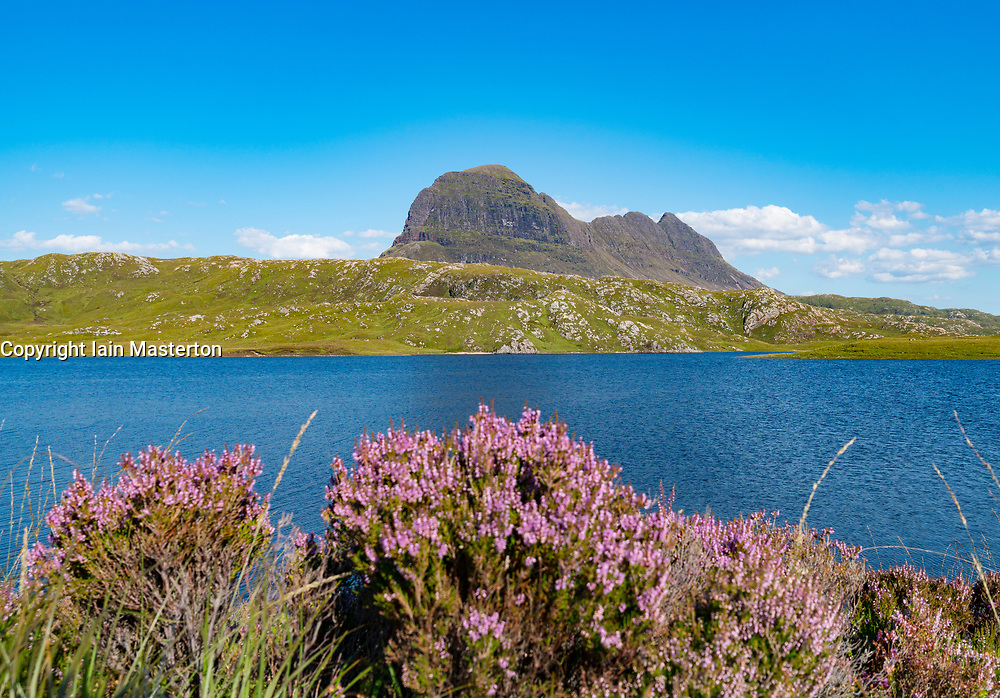 View of Suilven across mountain loch in north west highlands of Scotland.
