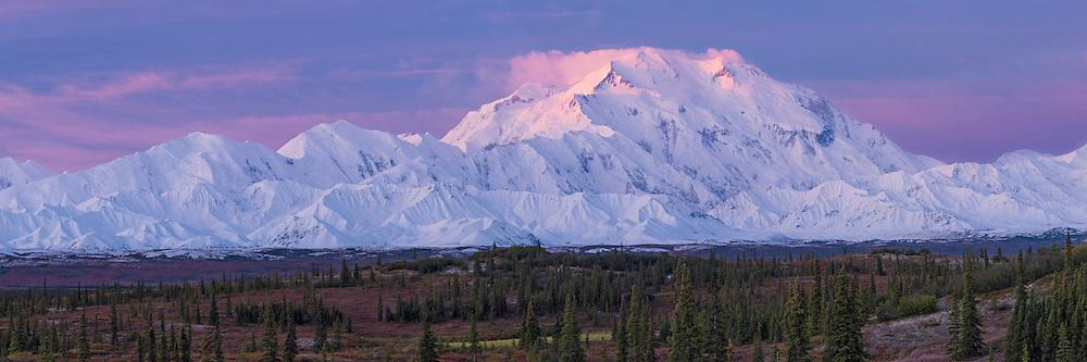 First light of sunrise on Denali and Alaska Range from Wonder Lake Campground; Denali National Park; Alaska