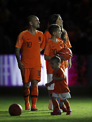 (L-R) Wesley Sneijder of Holland, Yolanthe Sneijder-Cabau, Jessey Sneijder, Xess Xava during the International friendly match match between The Netherlands and Peru at the Johan Cruijff Arena on September 06, 2018 in Amsterdam, The Netherlands