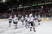 KELOWNA, CANADA - FEBRUARY 10: The Kelowna Rockets salute fans on the win against the Vancouver Giants on February 10, 2017 at Prospera Place in Kelowna, British Columbia, Canada.  (Photo by Marissa Baecker/Shoot the Breeze)  *** Local Caption ***