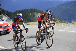 Tsgabu Grmay (ETH) and Janez Brajkovic (SLO) Bahrain-Merida climb through the Caisse Deserte on Col d'Izoard during Stage 18 of the 104th edition of the Tour de France 2017, running 179.5km from Briancon to the summit of Col d'Izoard, France. 20th July 2017.<br /> Picture: Eoin Clarke | Cyclefile<br /> <br /> All photos usage must carry mandatory copyright credit (© Cyclefile | Eoin Clarke)