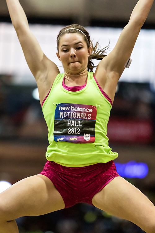New Balance High School Indoor National Championships, girls long jump, Kate Hall, Lake Region HS, Maine, wins meet record 20'11-1/4""