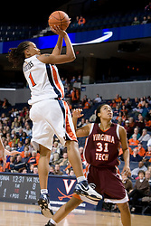 Virginia's Lyndra Littles (1) shoots over VT's Amber Hall (31).  The Virginia Tech Hokies overcame a 14 point Virginia lead to beat the Cavaliers 60-58 on their home court at the John Paul Jones Arena in Charlottesville, VA.