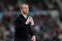 DERBY, ENGLAND - MAY 11: - DCFC vs Fulham. Gary Rowett, Derby manager, gets a drink