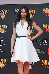 Image ©Licensed to i-Images Picture Agency. 03/07/2014. Madrid, Spain. Conchita Wurst receives a 'Premio Madrid Orgullo-Muestra-T' award. Picture by Oscar Gonzalez / i-Images<br /> SPAIN OUT