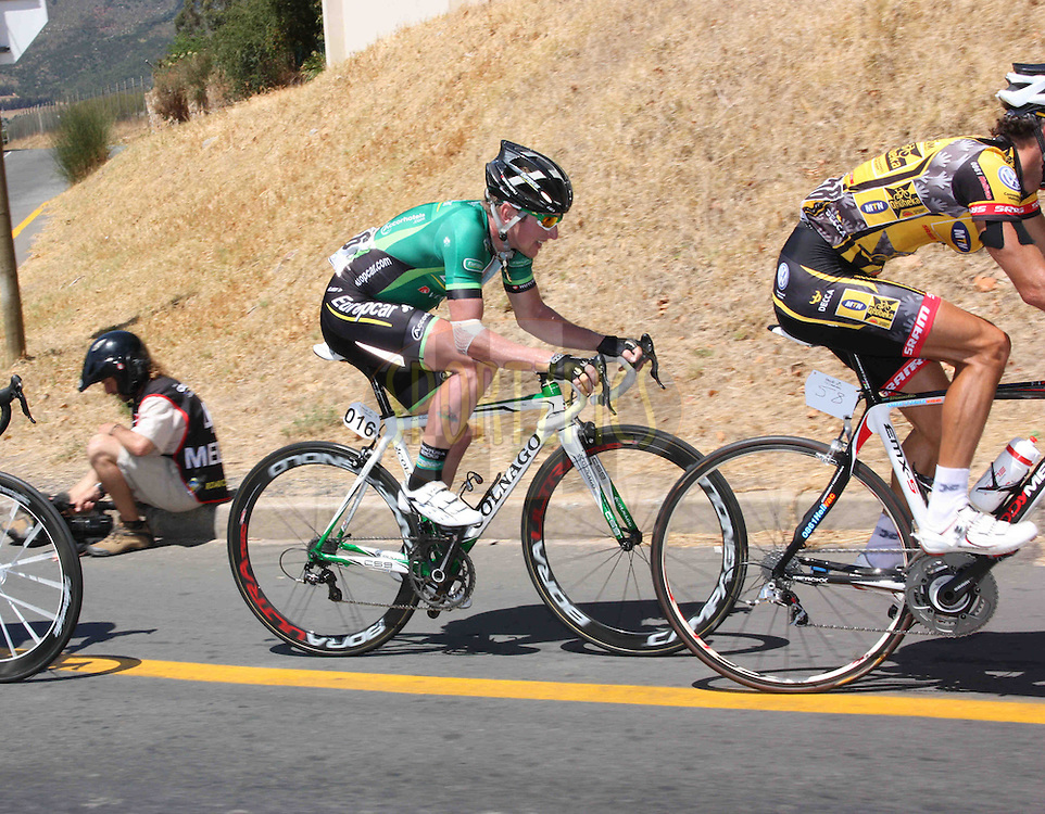 Tony Hurel fights to stay on the whee of an MTN Qhubeka rider during stage six of the Cell C Tour of South Africa from Hermanus to Old Helshoogte Pass, Stellenbosch, South Africa on the 25th February 2011
