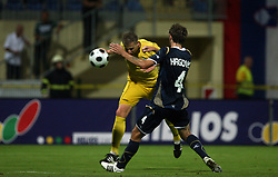 Joze Benko  (8) of Domzale and Mirko Hrgovic of Dinamo at 1st football game of 2nd Qualifying Round for UEFA Champions league between NK Domzale vs HNK Dinamo Zagreb, on July 30, 2008, in Domzale, Slovenia. Dinamo won 3:0. (Photo by Vid Ponikvar / Sportal Images)