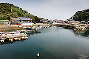 Aoshima, Ehime prefecture, September 4 2015 - The harbour as seen from the pier.<br /> Aoshima (Ao island) is one of the several « cat islands » in Japan. Due to the decreasing of its poluation, the island now host about 6 times more cats than residents.