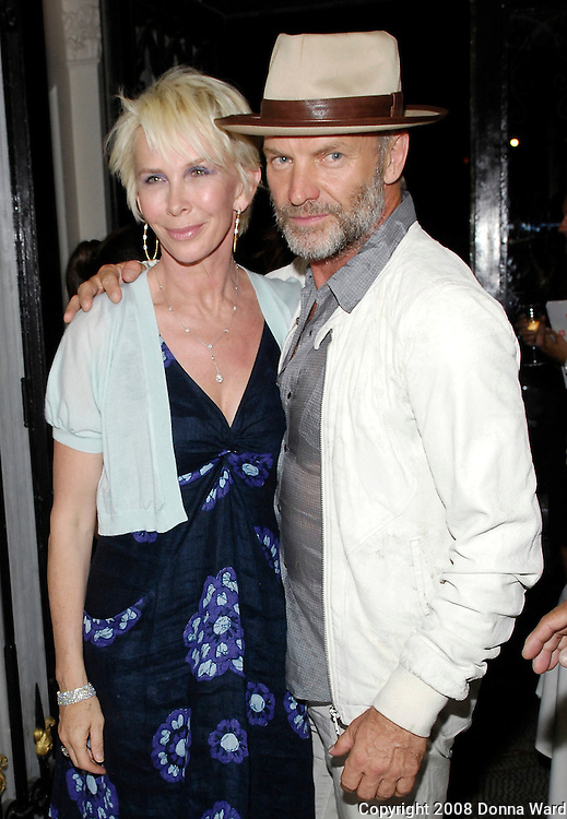 Trudie Styler and Sting pose at 'The Ivy Ceiling' CD Launch at Bruno Jamais Restaurant on the Upper East Side in New York City, USA August 6, 2008.