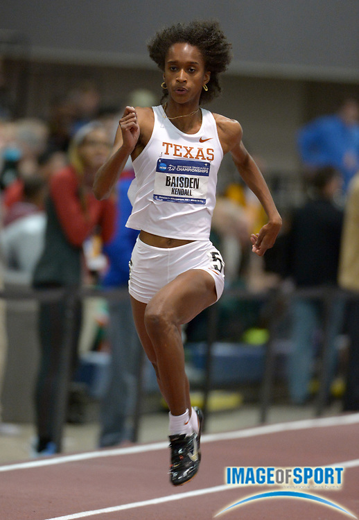 Mar 14, 2014; Albuquerque, NM, USA; Kendall Baisden of Texas runs 52.22 in a womens 400m heat in the 2014 NCAA Indoor Championships at Albuquerque Convention Center.