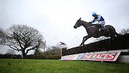 Rhys Flint riding Black Narcissus clears an early fence before winning the G.E. White & Sons Agricultural Buildings Handicap Chase at Plumpton Racecourse - 13 Dec 2015