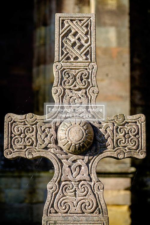 Celtic Cross gravestone at Melrose Abbey, Melrose. Scottish Borders<br /> <br /> (c) Andrew Wilson | Edinburgh Elite media