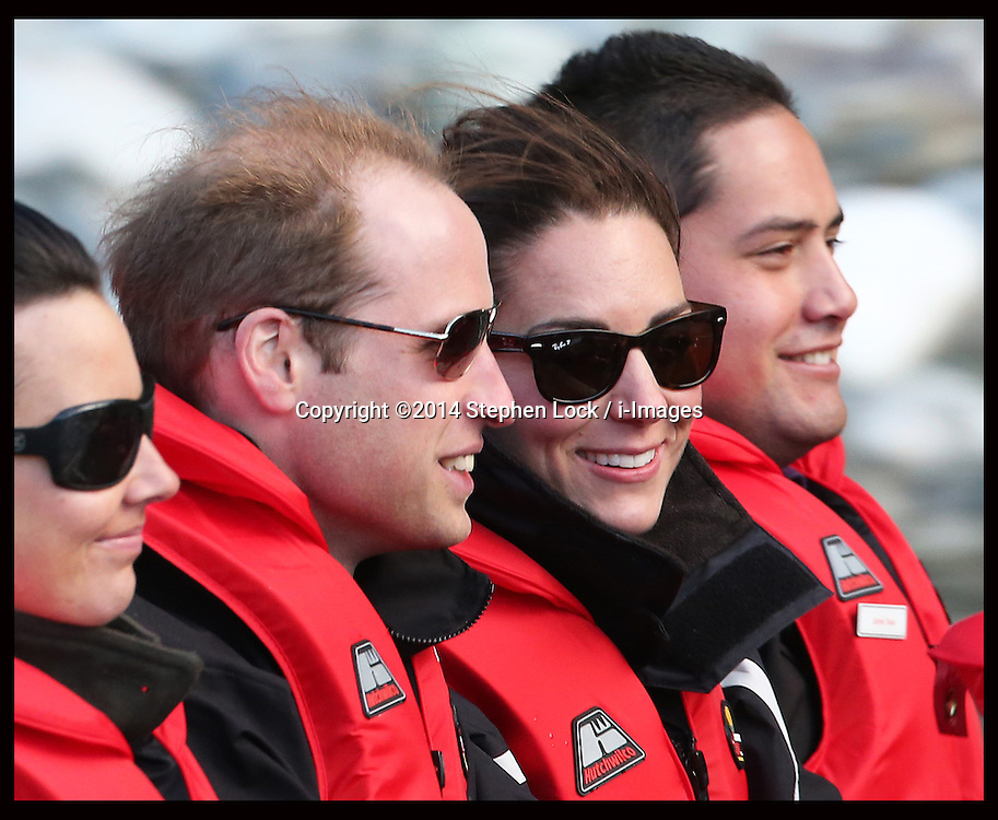 The Duke and Duchess of Cambridge taking part in a Shotover jet ride in Queensland, New Zealand ,  Sunday, 13th April 2014. Picture by Stephen Lock / i-Images