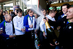 Slovenian bronze medalist cross-country skier Petra Majdic with her team members Miha Plahutnik, Marko Gracer, Ivan Hudac at arrival to Airport Joze Pucnik from Vancouver after Winter Olympic games 2010, on March 1, 2010 in Brnik, Slovenia. (Photo by Vid Ponikvar / Sportida)