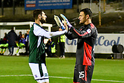 Nadir Ciftci (9) of Plymouth Argyle celebrates scoring the winning penalty in the penalty shoot-out after a 2-2 draw at full time with Kyle Letheren (25) of Plymouth Argyle during the EFL Trophy match between Plymouth Argyle and Exeter City at Home Park, Plymouth, England on 3 October 2017. Photo by Graham Hunt.