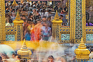 Visitors to the Grand Palace in motion, Bangkok, Thailand