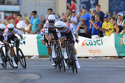 Trek-Segafredo in action during Stage 1 of La Vuelta 2019, a team time trial running 13.4km from Salinas de Torrevieja to Torrevieja, Spain. 24th August 2019.<br /> Picture: Eoin Clarke | Cyclefile<br /> <br /> All photos usage must carry mandatory copyright credit (© Cyclefile | Eoin Clarke)