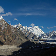 The Gangotri Glacier weaves its way for some 25 kilometers until its very start at the massif of Chaukhamba. Chaukhamba IV sits in the center of the frame.