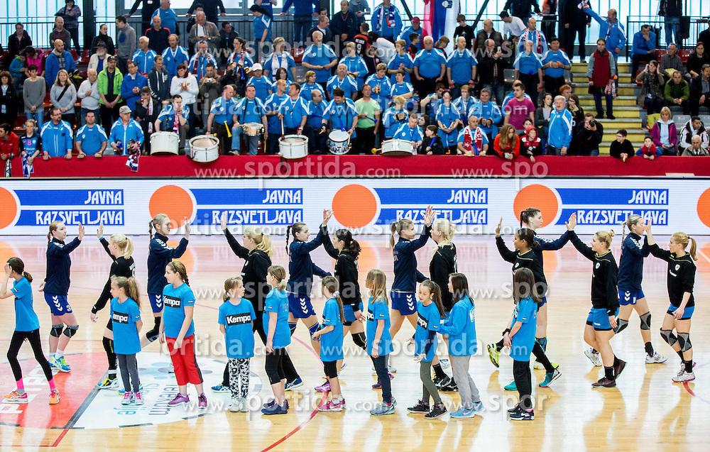 Teams during 2nd Leg handball match between RK Krim Mercator and HC Lada Togliatti (RUS) in Semifinal of Women Cup Winners' Cup 2015/16, on April 9, 2016 in Arena Kodeljevo, Ljubljana, Slovenia. Photo by Vid Ponikvar / Sportida