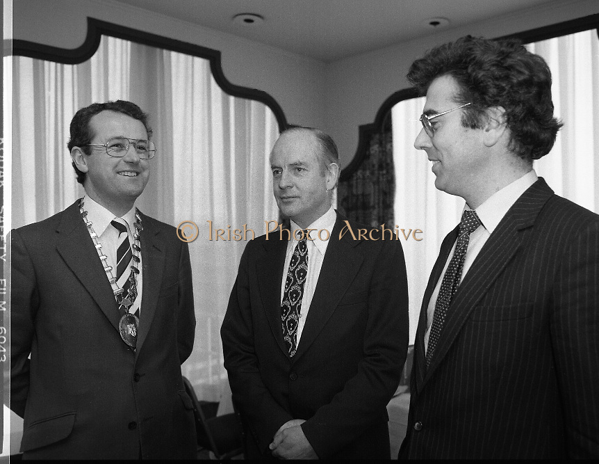 Institute of Chartered Secretaries and Administrators Christmas Lunch..1982..22.12.1982..12.22.1982..22nd December 1982..The annual Christmas luncheon of the Institute of Chartered Secretaries and Administrators was held at Jurys Hotel,Ballsbridge,Dublin.The Guest speaker at the luncheon was Senator John Robb...Picture shows Senator John Robb(centre) who was guest speaker at the luncheon flanked by Mr M.G.Moloney,Institute Chairman and Mr Vincent Clifford,Secretary..Mr Robb was nominated by both Fianna Fail (16 & 18 Seanad) and Fine Gael (17 Seanad) led Governments.