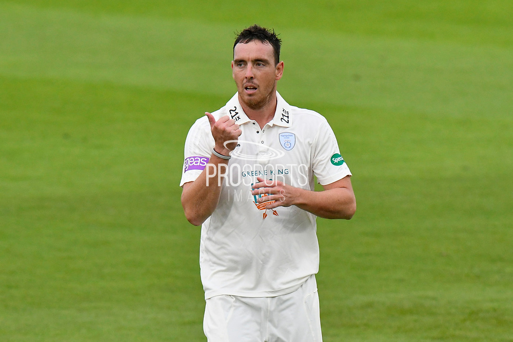 Kyle Abbott of Hampshire during the Specsavers County Champ Div 1 match between Hampshire County Cricket Club and Worcestershire County Cricket Club at the Ageas Bowl, Southampton, United Kingdom on 13 April 2018. Picture by Graham Hunt.