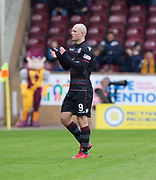 28th April 2018, Fir Park, Motherwell, Scotland; Scottish Premier League football, Motherwell versus Dundee; Curtis Main of Motherwell applauds fans after being substituted