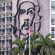 A government building with a large sculpture of Che Guevara. Plaza de la Revolucion, anchored by a monument to Jose Marti, is the site where Fidel Castro and his brother Raul have addressed millions of Cubans in massive rallies. The plaza is surrounded by  administrative buildings that house some of the most important offices of Cuba's  government.<br /> Photography by Jose More