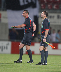 Ref Kovacic has a red card in his hand after sending of Carl Finnigan.<br /> Vaduz 2 v 0 Falkirk FC at the Rheinpark Stadium for their Europa League second-round qualifier against Vaduz in Liechtenstein.<br /> ©2009 Michael Schofield. All Rights Reserved.