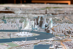 UK ENGLAND LONDON 20APR15 - Detail view of the Millennium Dome and Docklands Isle of Dogs development on the New London Architecture scale model of all built and approved buildings in London on display in The Building Centre, central London.<br /> <br /> jre/Photo by Jiri Rezac<br /> <br /> © Jiri Rezac 2015