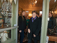 Jeanne Shaheen visits Willow & Sage Vintage Boutique on her Election Eve stop in downtown Laconia Monday afternoon.  (Karen Bobotas/for the Laconia Daily Sun)