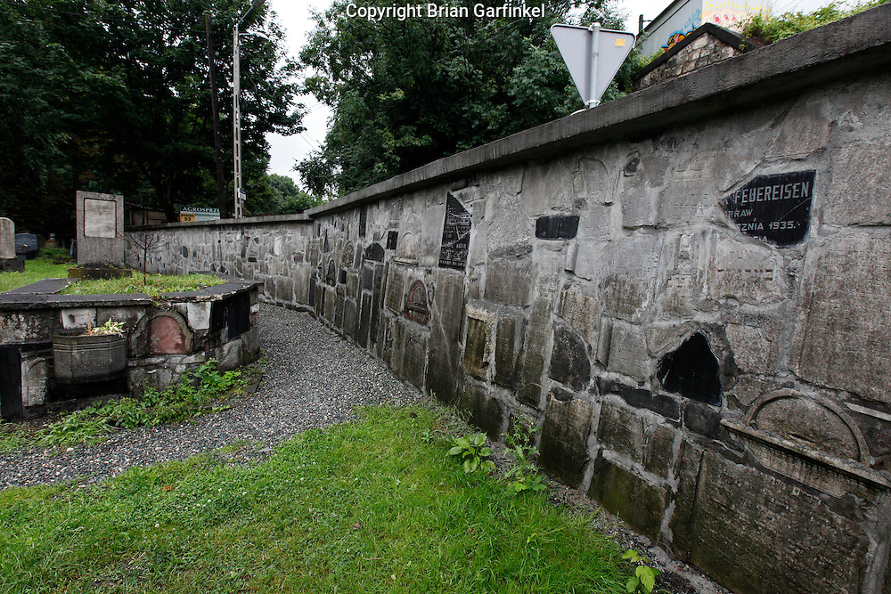 "A wall is made with old grave stones in the ""New"" Jewish cemetery in Krakow, Poland on Monday July 4th 2011.  (Photo by Brian Garfinkel)"