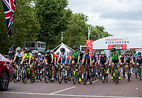 Riders on The Mall as they start The Prudential RideLondon Classique. Saturday 28th July 2018<br /> <br /> Photo: Ian Walton for Prudential RideLondon<br /> <br /> Prudential RideLondon is the world's greatest festival of cycling, involving 100,000+ cyclists - from Olympic champions to a free family fun ride - riding in events over closed roads in London and Surrey over the weekend of 28th and 29th July 2018<br /> <br /> See www.PrudentialRideLondon.co.uk for more.<br /> <br /> For further information: media@londonmarathonevents.co.uk