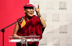 Dalai Lama during the ceremony for honorary citizenship, during the meeting organized by the University Bicocca to the Arcimboldi theater