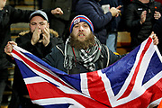 Portsmouth fan with a union jack flag before the The FA Cup 3rd round match between Norwich City and Portsmouth at Carrow Road, Norwich, England on 5 January 2019.