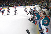 KELOWNA, CANADA, JANUARY 4: The Kelowna Rockets celebrate a  goal as the Spokane Chiefs visit the Kelowna Rockets on January 4, 2012 at Prospera Place in Kelowna, British Columbia, Canada (Photo by Marissa Baecker/Getty Images) *** Local Caption ***