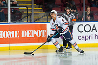 KELOWNA, BC - MARCH 09:  Montana Onyebuchi #5 of the Kamloops Blazers skates with the puck against the Kelowna Rockets at Prospera Place on March 9, 2019 in Kelowna, Canada. (Photo by Marissa Baecker/Getty Images)
