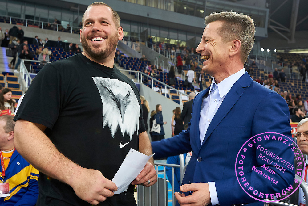 (L) Ryan Whiting from USA and (R) Krzysztof Klimczak President Board of Strauss Cafe Poland during athletics meeting Pedro's Cup at Atlas Arena in Lodz, Poland.<br /> <br /> Poland, Lodz, February 17, 2015<br /> <br /> Picture also available in RAW (NEF) or TIFF format on special request.<br /> <br /> For editorial use only. Any commercial or promotional use requires permission.<br /> <br /> Adam Nurkiewicz declares that he has no rights to the image of people at the photographs of his authorship.<br /> <br /> Mandatory credit:<br /> Photo by &copy; Adam Nurkiewicz / Mediasport