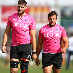 Ruan Botha of the Cell C Sharks with Franco Marais of the Cell C Sharks during the cell c sharks training session at  Kings Park,Durban.South Africa. 3,05,2018 Photo by Steve Haag)