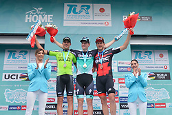 October 14, 2018 - Istanbul, Turkey - (Left - Right) Eduard Prades Reverter of Spain and Euskadi Basque Country-Murias, Sam Bennett of Ireland and Bora Hansgrohe and Jean-Pierre Drucker of Luxembourg and BMC Racing Team - during the Awards Ceremony of the sixth stage - the Salcano Stage 166.7km from Bursa to Istanbul, of the 54th Presidential Cycling Tour of Turkey 2018. .On Sunday, October 14, 2018, in Istanbul, Turkey. (Credit Image: © Artur Widak/NurPhoto via ZUMA Press)