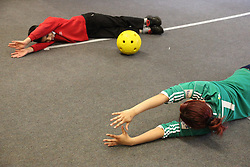 Children with visual impairments being taught Goalball at Mysight, Nottingham.