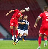 4th September 2017, Hampden Park, Glasgow, Scotland; World Cup Qualification, Group F; Scotland versus Malta; Malta's Bjorn Kristensen out jumps Scotland's James McArthur
