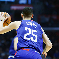 09 December 2017: LA Clippers guard Austin Rivers (25) brings the ball up court during the LA Clippers 113-112 victory over the Washington Wizards, at the Staples Center, Los Angeles, California, USA.
