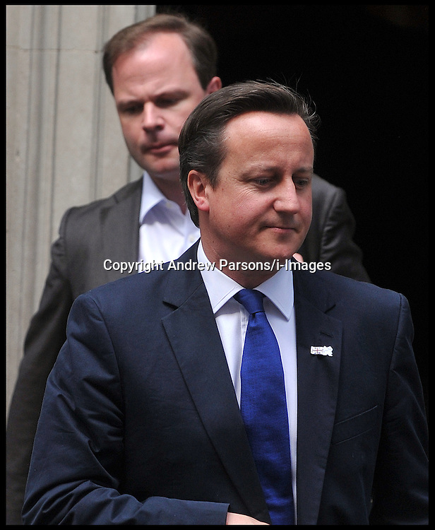 David Cameron leaves No10 Downing St with his spin Doctor Craig Oliver, Thursday August 2, 2012. Photo by Andrew Parsons/i-Images.All Rights Reserved ©Andrew Parsons/i-Images.See Instructions