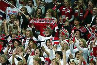 Håndball , 8. desember 2006 , Euro , Norge - Polen ,<br /> illustrasjon , norsk publikum , fan , fans , flagg , supporter , supportere