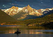 Saint Mary Lake and Wild Goose Island just after sunrise; Glacier National Park, Montana..