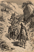Mule train carrying diamonds mined in Brazil being escorted by a military guard.  From  'Underground Life; or, Mines and Miners' by Louis Simonin (London, 1869). Wood engraving.