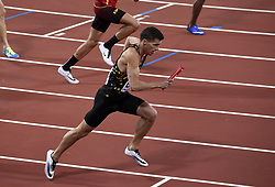 August 13, 2017 - London, England - LONDON , UNITED KINGDOM  - AUGUST 13 : Kevin Borlee, Jonathan Borlee, Dylan Borlee and Robin Vanderbemden of  Belgian Tornado relay  team of 4X400 pictured during 4X400 M final at the16th IAAF World Athletics championships from august 4 till 13, 2017 in London ,United Kingdom, 13/08/2017. (Credit Image: © Panoramic via ZUMA Press)